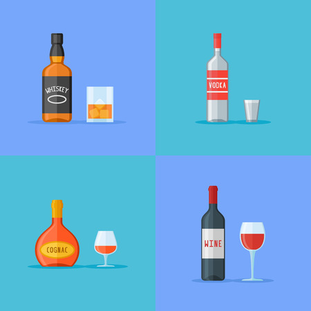 Set of bottles and glasses with alcohol drinks. Whiskey, vodka, cognac and wine. Flat style icons. Vector illustration. Ilustrace
