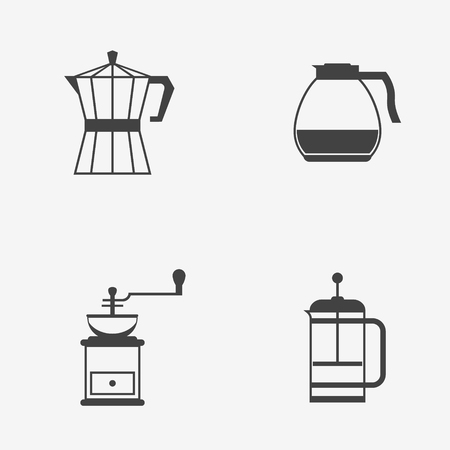 Set of coffee makers icons Illustration