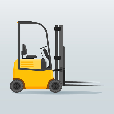 Forklift truck flat icon isolated on background. Vector illustration.
