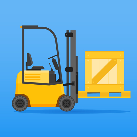 Forklift truck with wooden crate on blue background. Vector illustration. Illustration