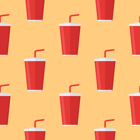 Seamless pattern with soda takeaway on orange background. Vector texture.