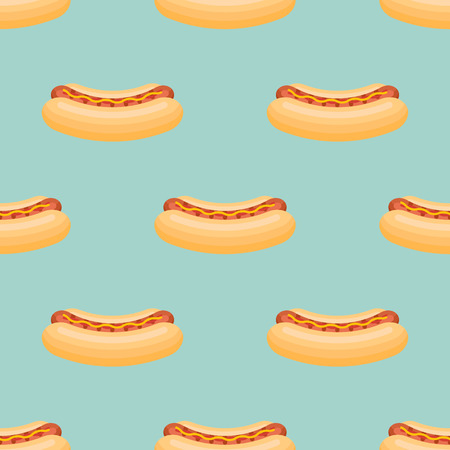 Seamless pattern with hot dog on teal background. Vector texture.