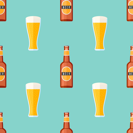 Seamless pattern with brown bottle and glass with beer Illustration