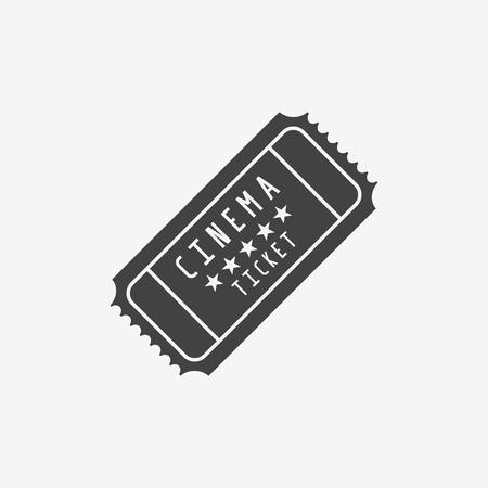 Retro cinema ticket monochrome icon on white background. Vector illustration. Ilustrace