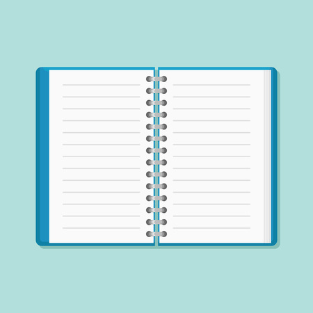 Open notebook isolated on teal background. Flat style icon. Vector illustration. Vettoriali