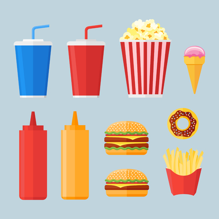 Set of fast food elements in flat style. Donut, hamburger, french fries, popcorn, soda takeaway, ketchup, mustard and ice cream isolated on blue background. Vector illustration. Иллюстрация