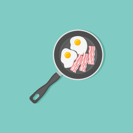 Fried eggs and bacon strips in frying pan.