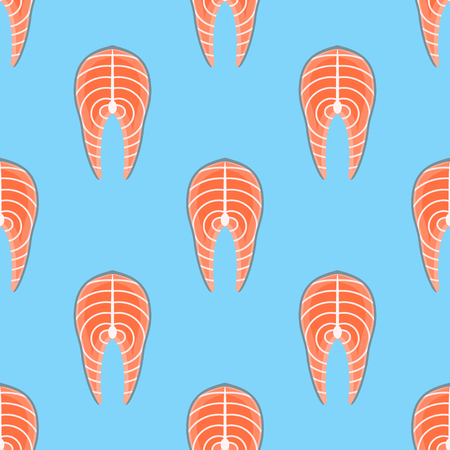 A Seamless pattern with salmon steak on blue background. Vector texture. Illustration