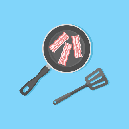 Bacon strips in frying pan isolated on blue background. Top view. Flat style vector illustration.
