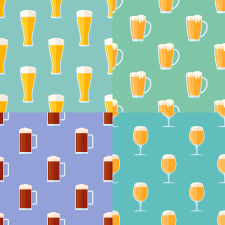 Set of seamless patterns with beer glasses. Vector textures.