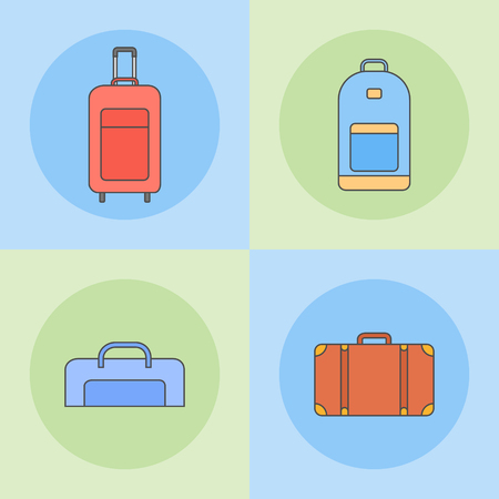 Set of travel bags flat line icons. 向量圖像