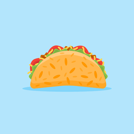 Taco isolated on blue illustration.