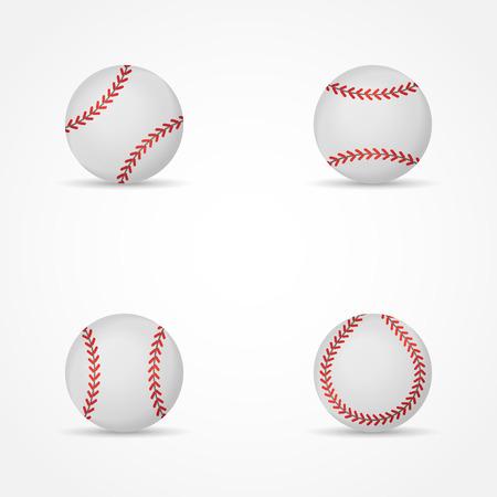 Set of baseballs isolated on white background. Balls vector illustration.