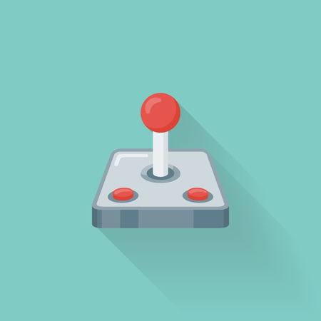 Retro video game controller flat style icon. Joystick or gamepad vector illustration.