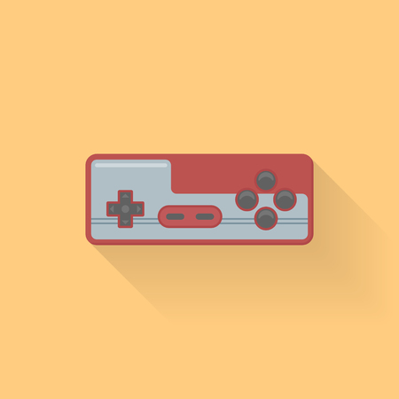 Retro video game controller flat style icon on orange background. Joystick or gamepad vector illustration.
