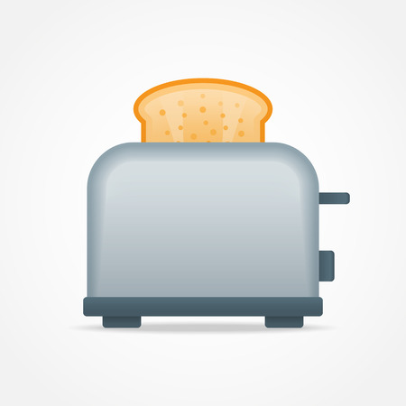Toaster with slice of toast bread isolated on white background. Vector illustration.