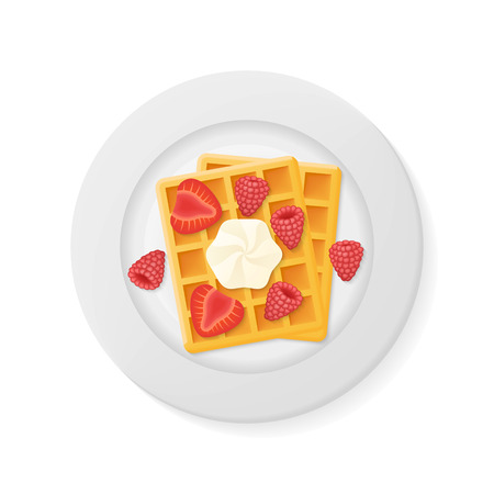 Plate with belgian waffles with raspberries, strawberries and cream isolated on white background. Top view. Vector illustration. Illustration