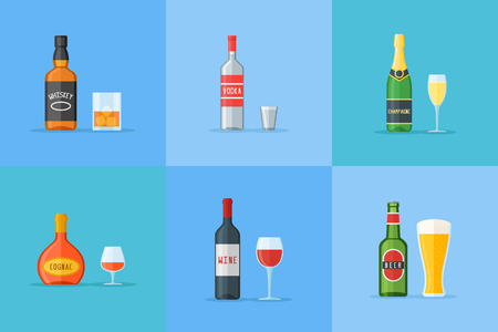 Set of bottles and glasses with alcohol drinks. Whiskey, vodka, cognac, wine, beer and champagne. Flat style icons vector illustration. Stock Illustratie
