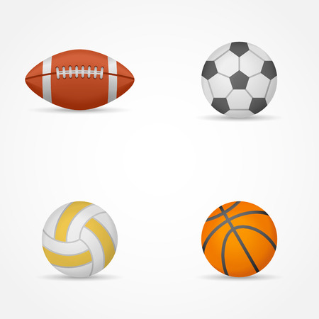 Set of sports balls isolated on white background. Football, soccer ball, volleyball and basketball. Vector illustration.