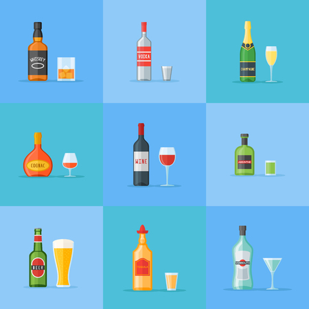 Set of bottles and glasses with alcohol drinks. Vector illustration.