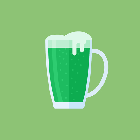 Green beer mug flat style icon. Vector illustration.