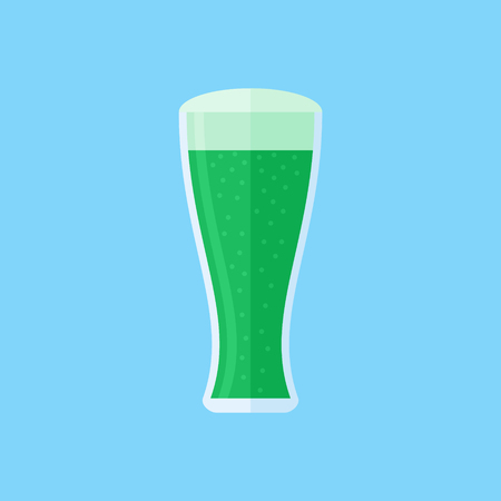 Glass of green beer isolated on blue background. Flat style icon. Vector illustration.