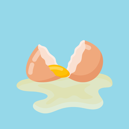Cracked egg with shell and yolk isolated on blue background. Vector illustration. Stock Illustratie