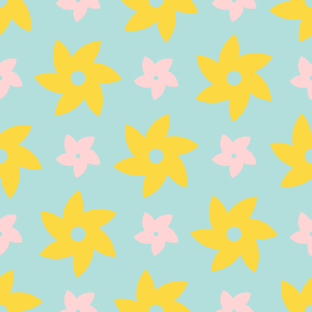 Seamless pattern with yellow and pink flowers