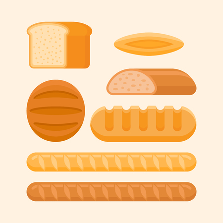Set of bakery products isolated on light background. Rye and wheat bread, long loaf, french baguette, bun. Flat style vector illustration. Illustration