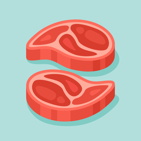 Raw meat steaks isolated on teal background. Vector illustration.