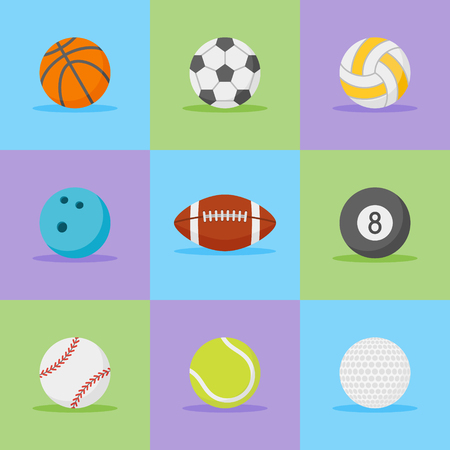 Set of sports balls flat style icons. Vector illustration.