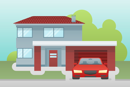 Cottage house with garage and car front view. Vector illustration.
