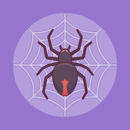 Black spider on the web flat line icon on purple background. Halloween element. 矢量图像