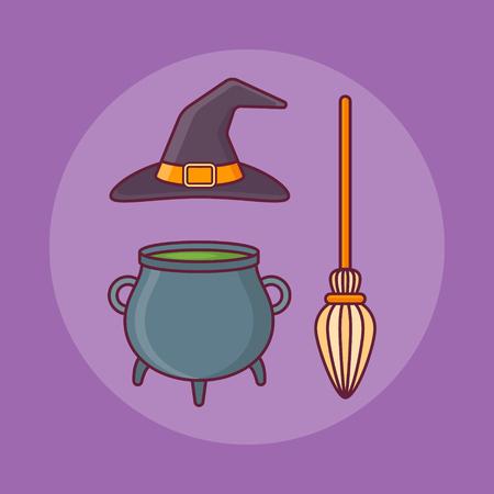 Witch hat, bowler and broom flat line icon on purple background. Halloween elements. Ilustração