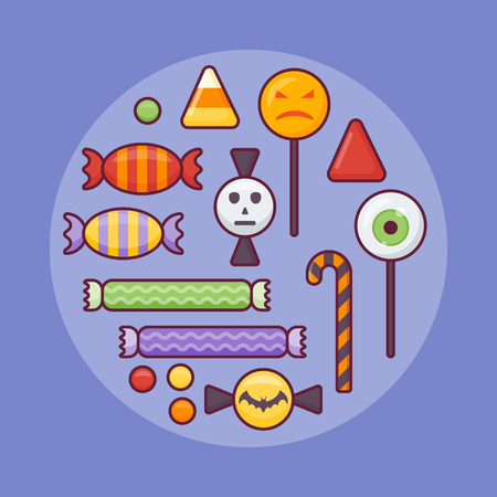 Set of colorful candies flat line icon on blue background. Halloween elements.