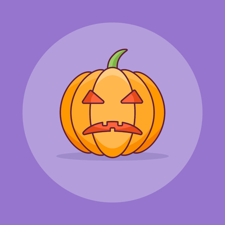 Pumpkin with scary face flat line icon on purple background . Halloween element.