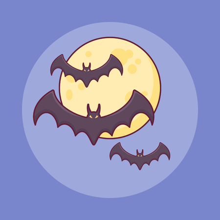 Bats flying over moon flat line icon on blue background. Halloween element.