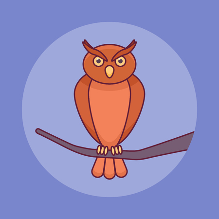 Owl sitting on branch flat line icon on blue background. Halloween element.