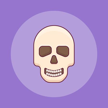 Skull flat line icon on purple background. Halloween element.