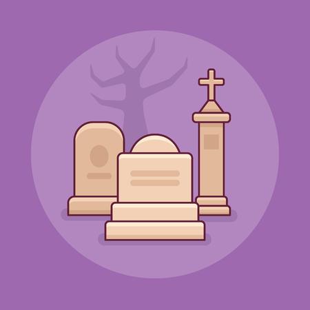 Cemetery flat line icon on purple background. Halloween element.