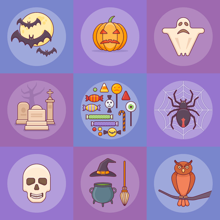 Set of halloween elements. Pumpkin, ghost, bats, skull, spider, owl, candies and other. Flat style icons. Ilustração