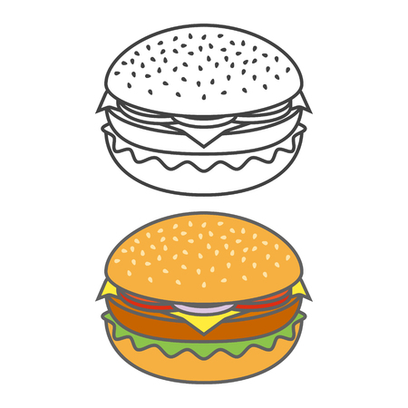 Color and outline burger icon isolated on white background. Vector illustration. Ilustração