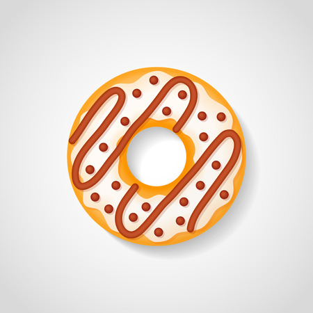 Sweet donut with white glaze and chocolate isolated on white background. Vector illustration.