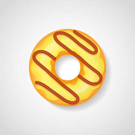 Sweet donut with yellow glaze isolated on white background. Vector illustration.