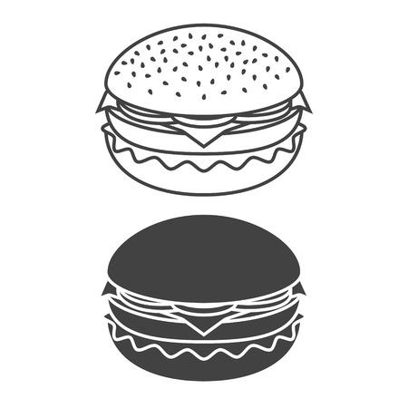 Burger monochrome icon isolated on white background. Vector illustration. Ilustração