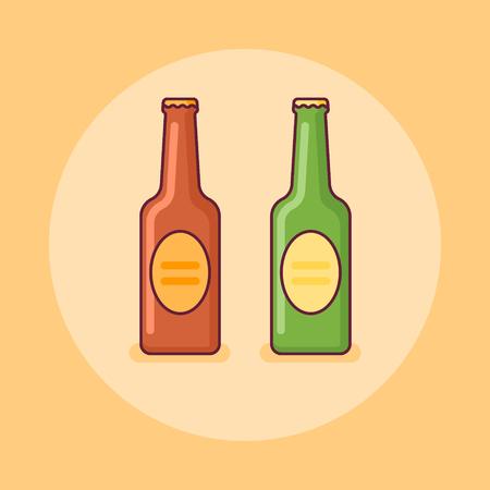 Beer bottles flat line icon on yellow background. Vector illustration. Ilustração
