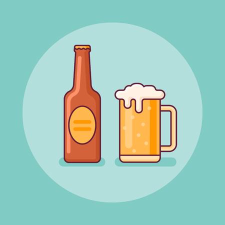 Beer bottle and mug flat line icon on teal background. Vector illustration.