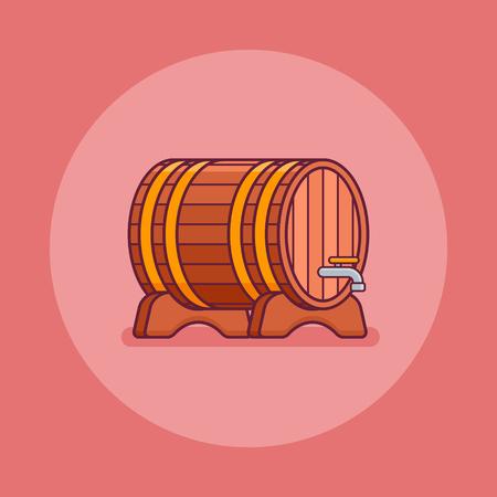 Wine or beer wooden barrel flat line icon on red background. Vector illustration.