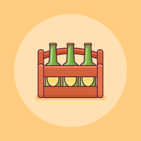 Beer bottles in wooden box flat line icon on yellow background. Vector illustration.