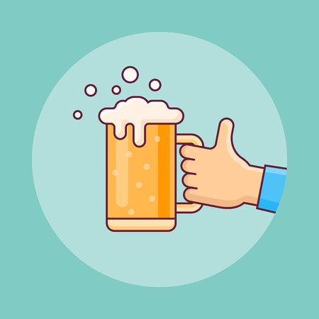 Beer mug in hand flat line icon on teal background. Vector illustration.